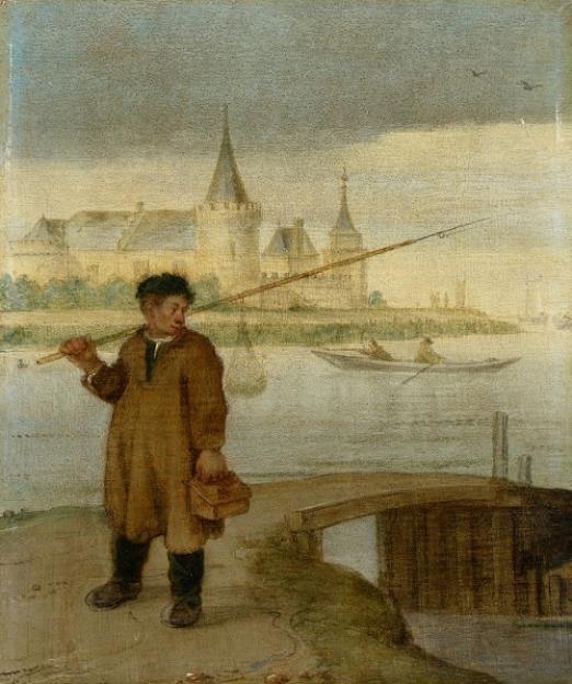 visser in muiden met kasteel op de achtergrond